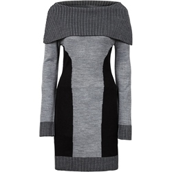 Shoespie Slash Neck Color Block Sweater Dress
