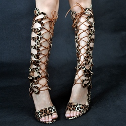 Shoespie Leopard Print Open Toe Lace Up Gladiator Sandals