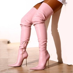 Shoespie Chic Pink Pointed Toe Thigh High Boots