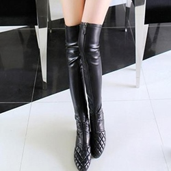 Shoespie Black Plaid Flat Knee High Boots