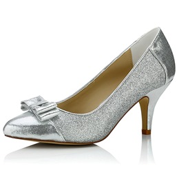 Shoespie Sliver Sequined Low Heel Bridal Shoes