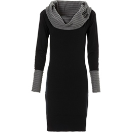 Color Block Heap Collar Sweater Dress