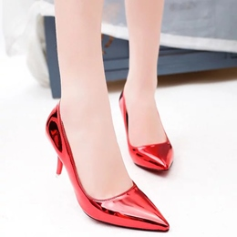 Shoespie Shine Leather Mid Heel Prom Shoes