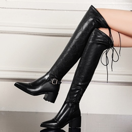 Shoespie Black Embossed Leather Back Lace Up Chunky Heel Knee High Boots