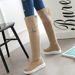 Shoespie Round Toe Buckle Platform Knee High Boots