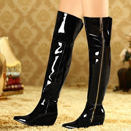 Shoespie Shine Pointed Toe Wedge Heel Knee High Boots