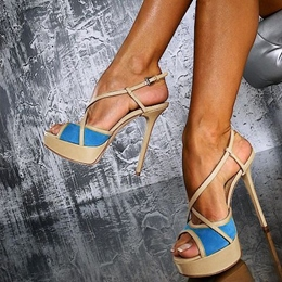 Ravishing Contrast Color Ankle Strap Dress Sandals