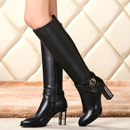 Shoespie Plain Black Ankle Buckle Mid Low Heel Knee High Boots