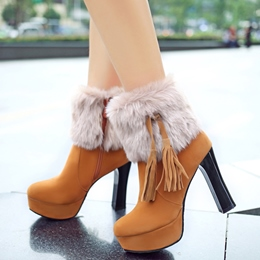 Shoespie Furry Knot Platform Fashion Booties
