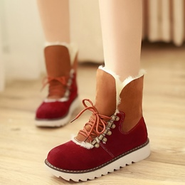 Shoespie Warm Round Toe Furry Lace Up Snow Boots