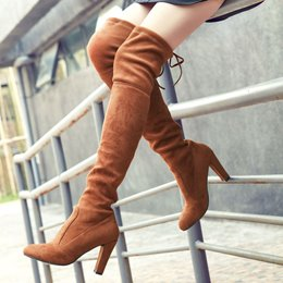 Shoespie Classy Solid Color Chunky Heel Thigh High Boots