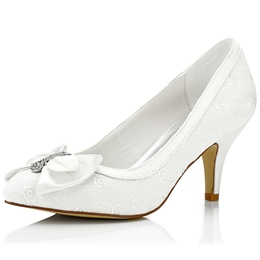 Shoespie Dreaming White Bow Low Heel Bridal Shoes