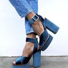 Shoespie Blue Velvet Sandals