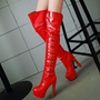 Shoespie Shine Side Leather Thigh High Boots