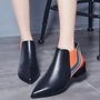 Shoespie Chic Pointed Toe Contrast Color Flat Boots