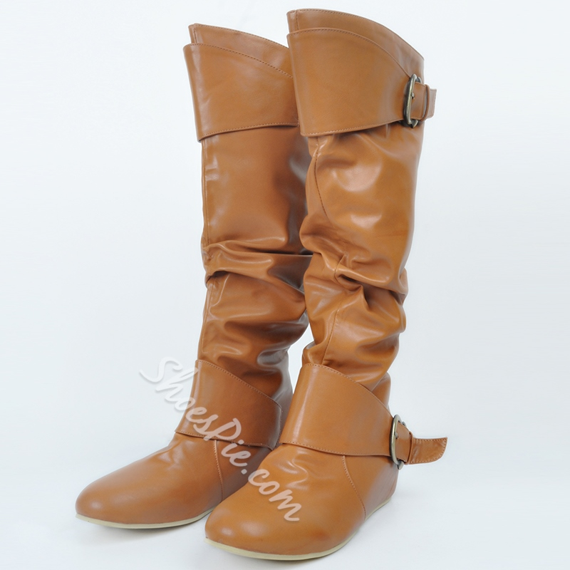 Shoespie Slouchy Giant Buckle Flat Boots