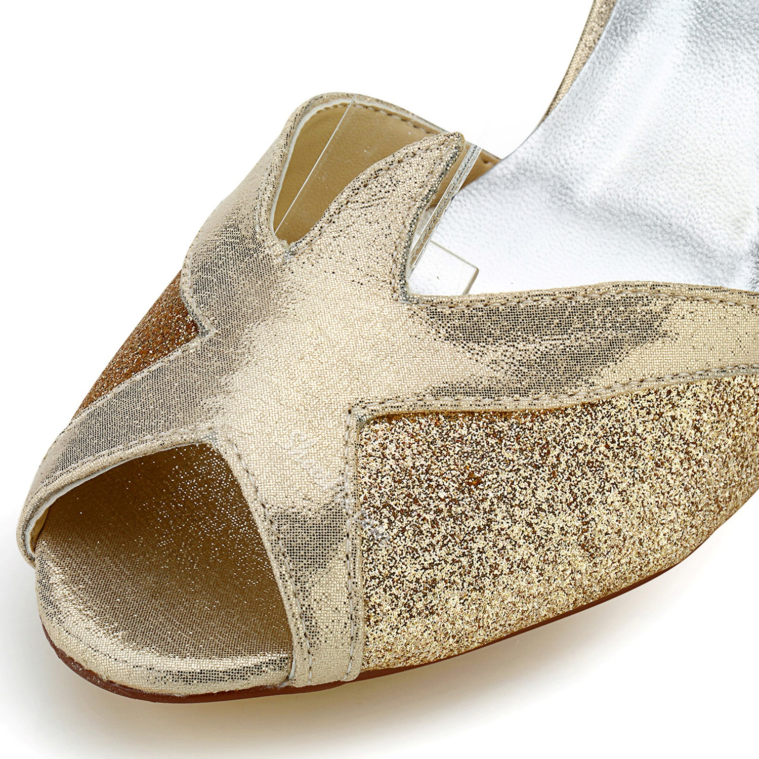 Shoespie Champagne Sequined Peep Toe Ankle Wrap Bridal Shoes