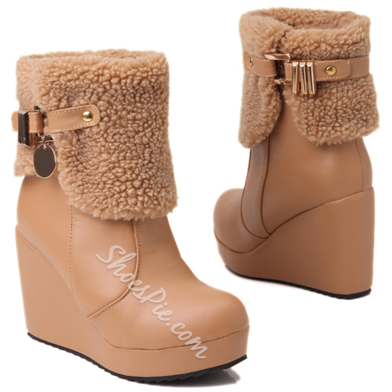 Shoespie Round Toe Furry Wedge Heel Ankle Boots