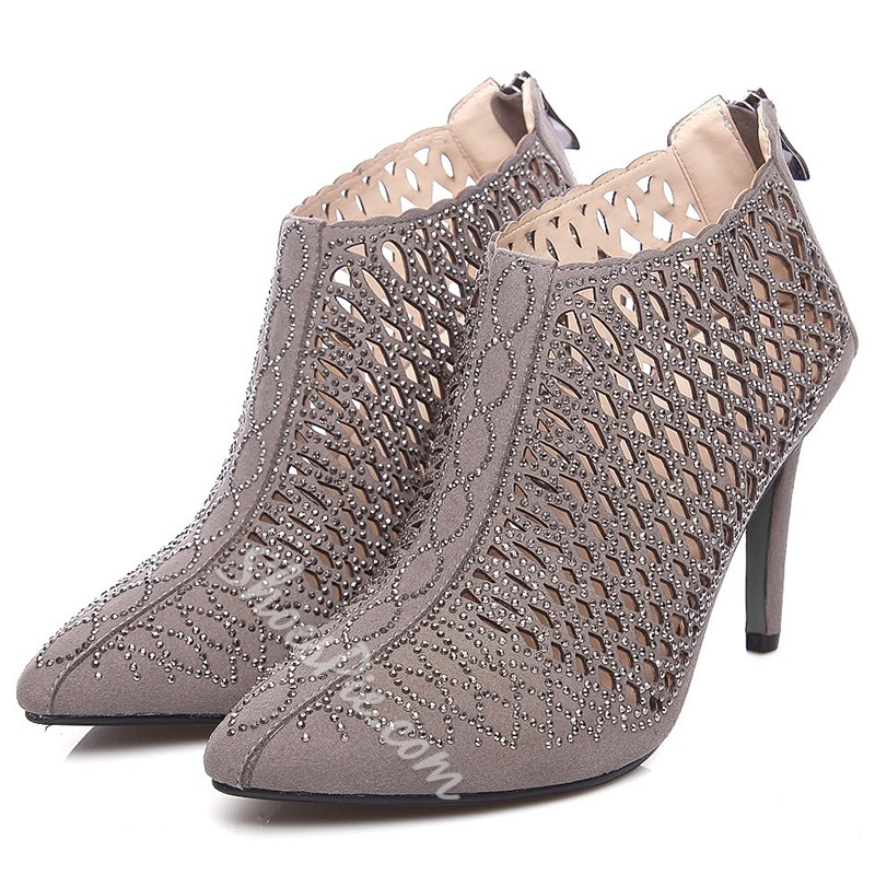 Shoespie Sequined Cut Out Back Zipper Fashion Booties