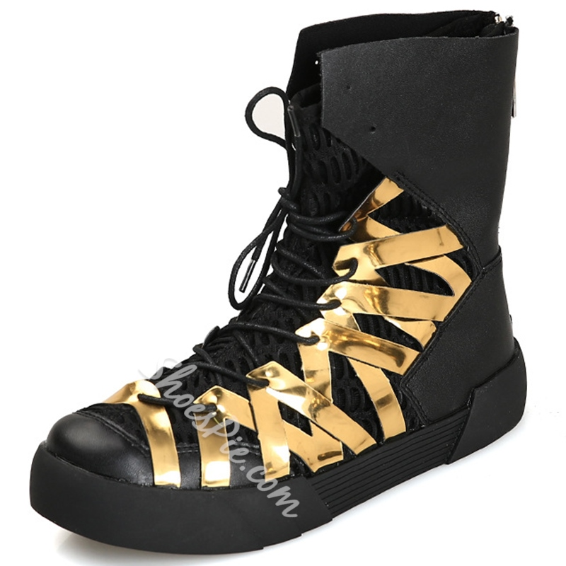 Shoespie Round Toe Hollow Lace Up Men's Boots