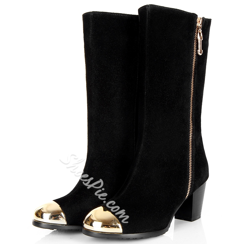 Shoespie Black Metal Cap Toe Block Heel Mid Calf Boots