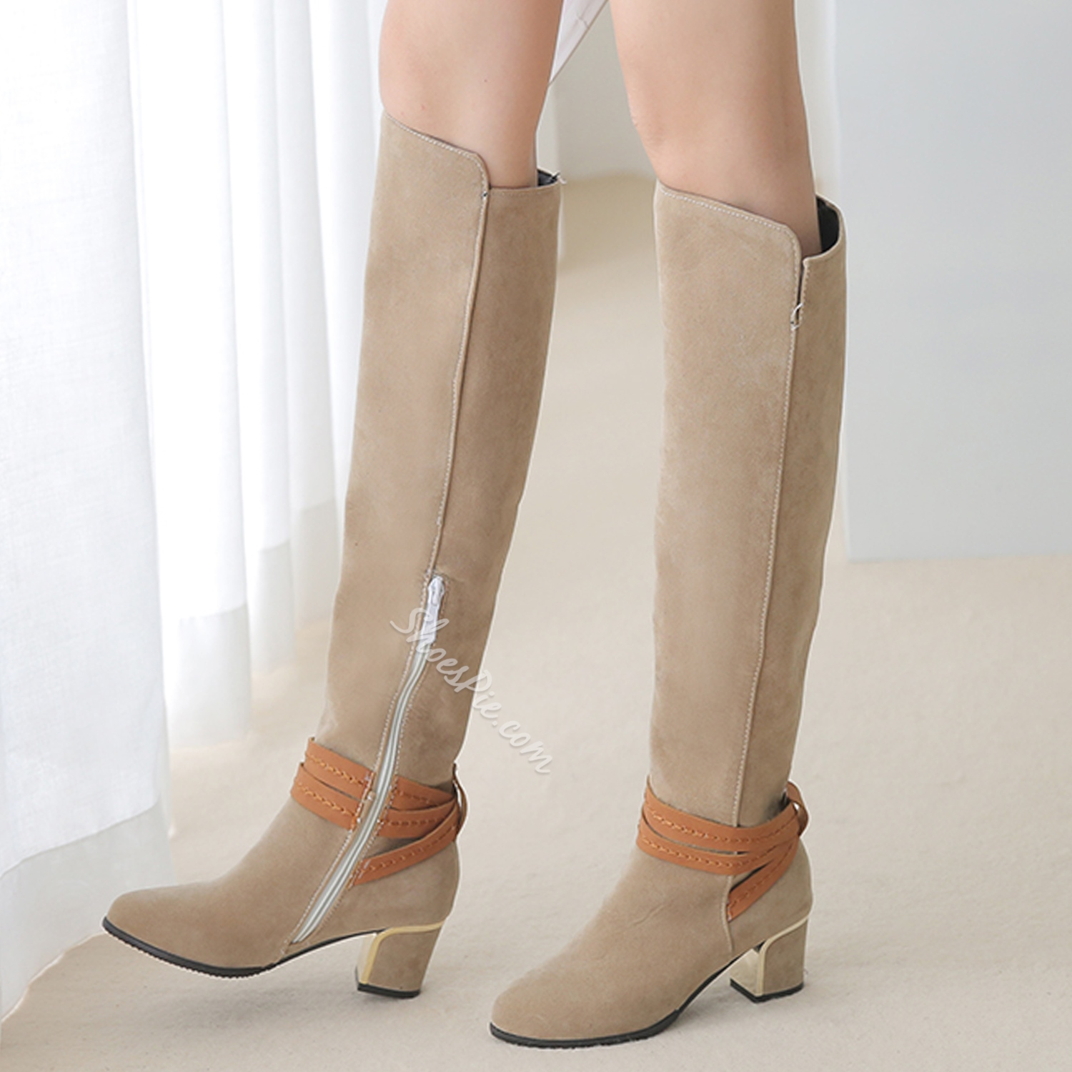 Shoespie Ankle Belted Chunky Heel Knee High Boots