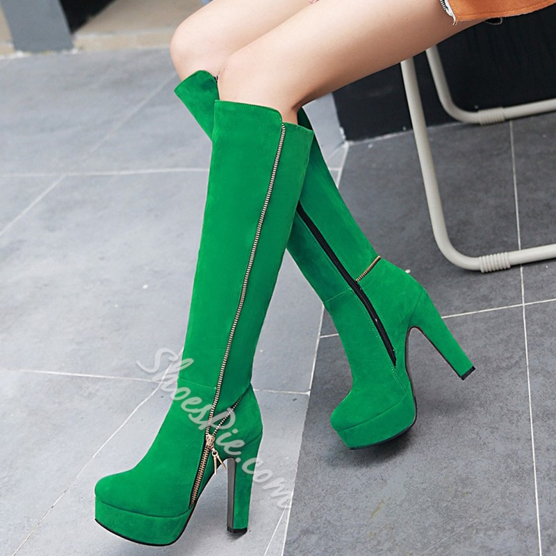 Shoespie Solid Color Side Zipper Embellished Chunky Heel Knee High Boots
