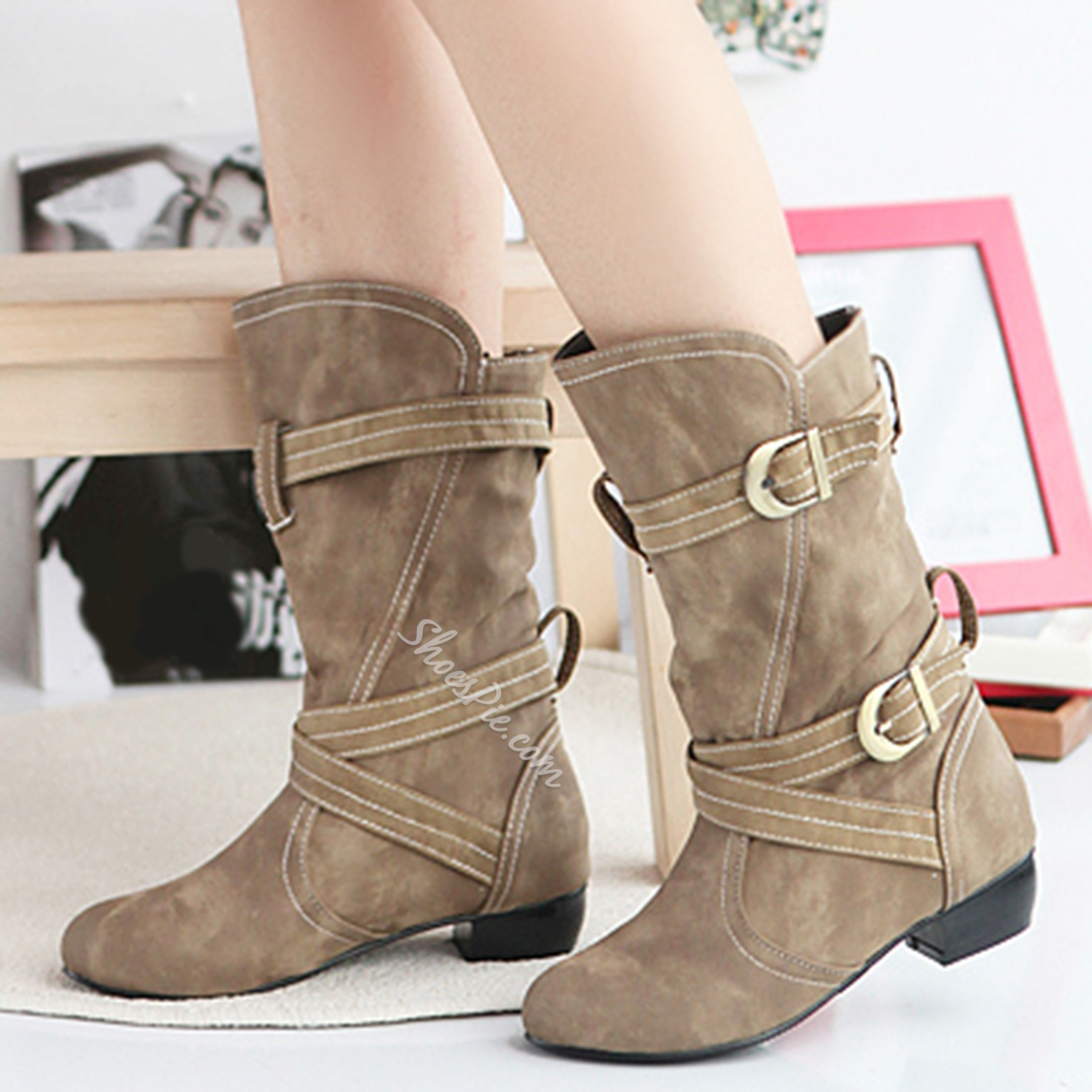 Shoespie Ankle Buckle Flat Mid Claf Boots