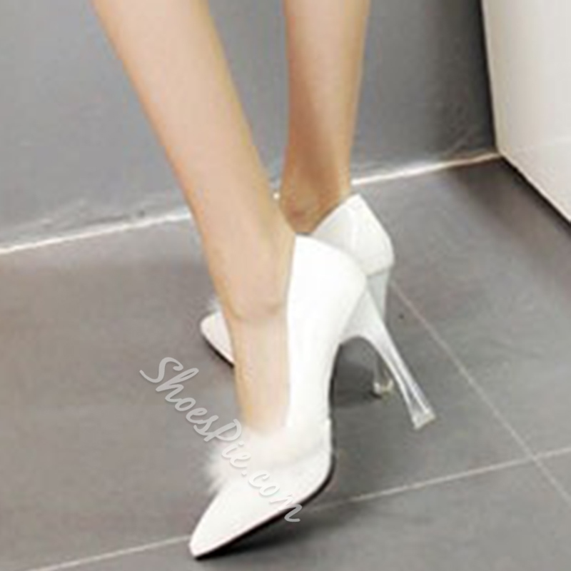 Shoespie Furry Pointed Toe Stiletto Heel Prom Shoes