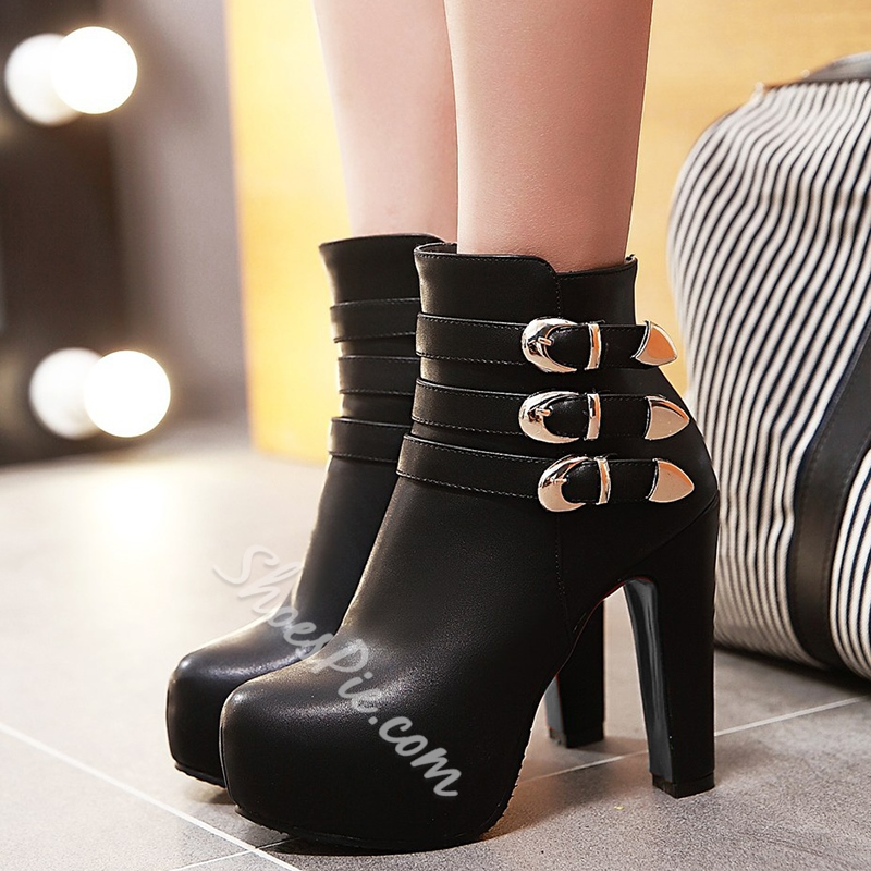 Shoespie Chic Round Toe Buckle Platform Ankle Boots