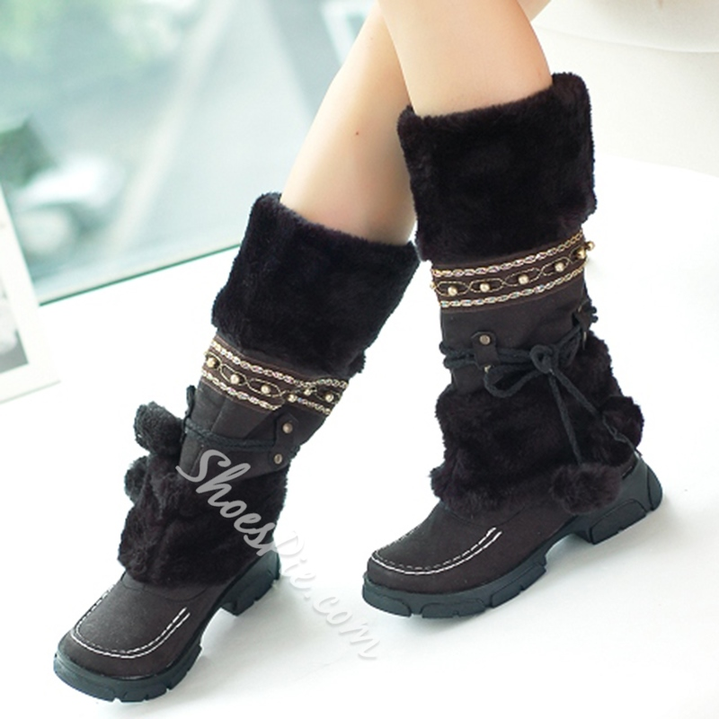 Shoespie Round Toe Short Floss Flat Snow Boots