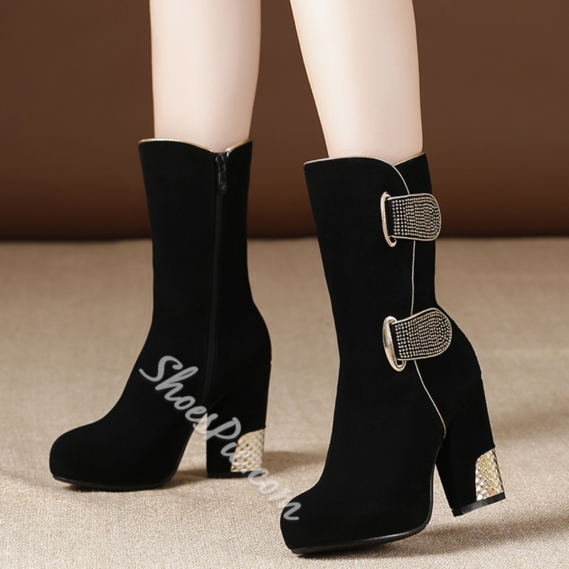 Shoespie Trendy Sequined Block Heel Mid Calf Booties