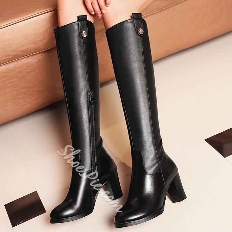 Shoespie Plain Black Metal Button Embellished Knee High Boots
