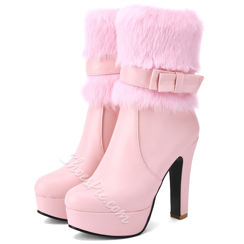 Shoespie Furry Bow Round Toe Platform Ankle Boots