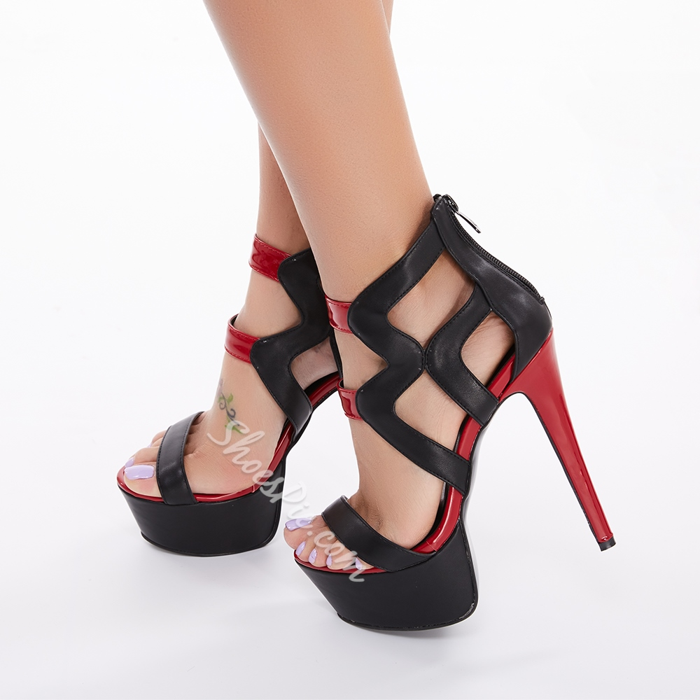 Extraordinary Cut-Outs PU Platform Sandals