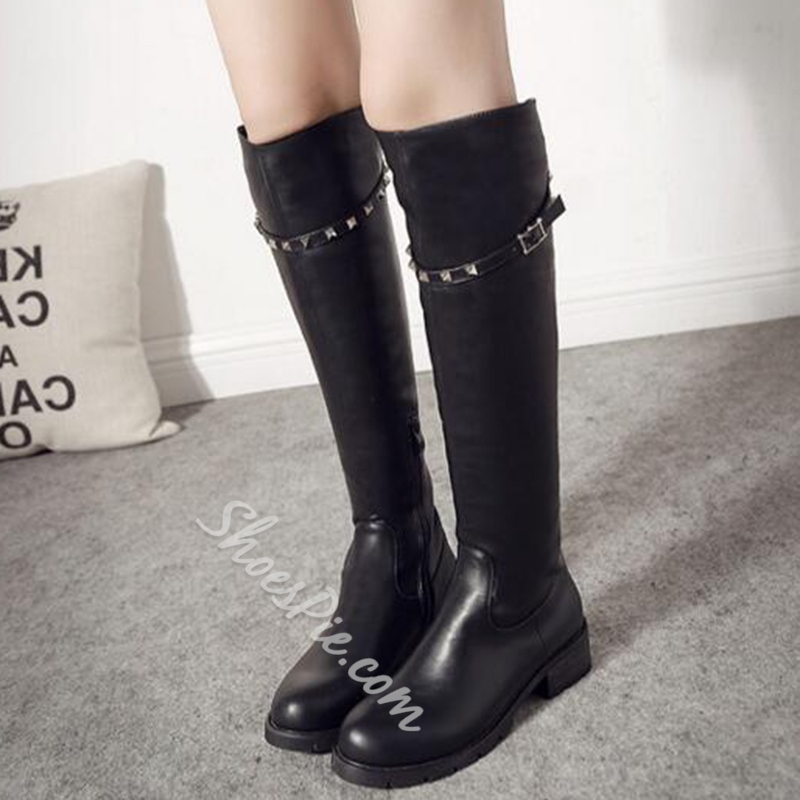Shoespie Black Rivets Riding Boots