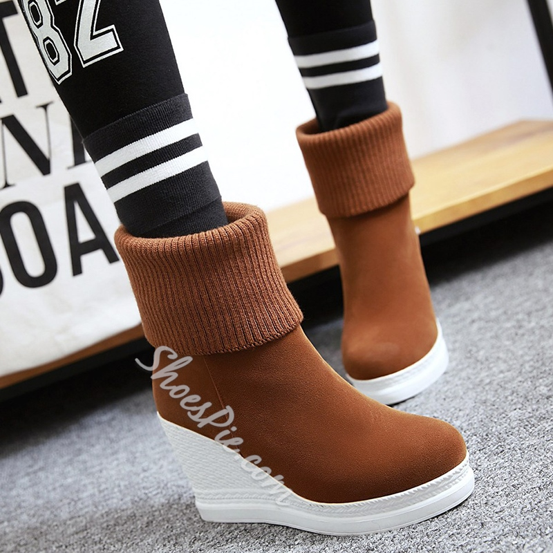 Shoespie Woolen Round Toe Wedge Heel Ankle Boots
