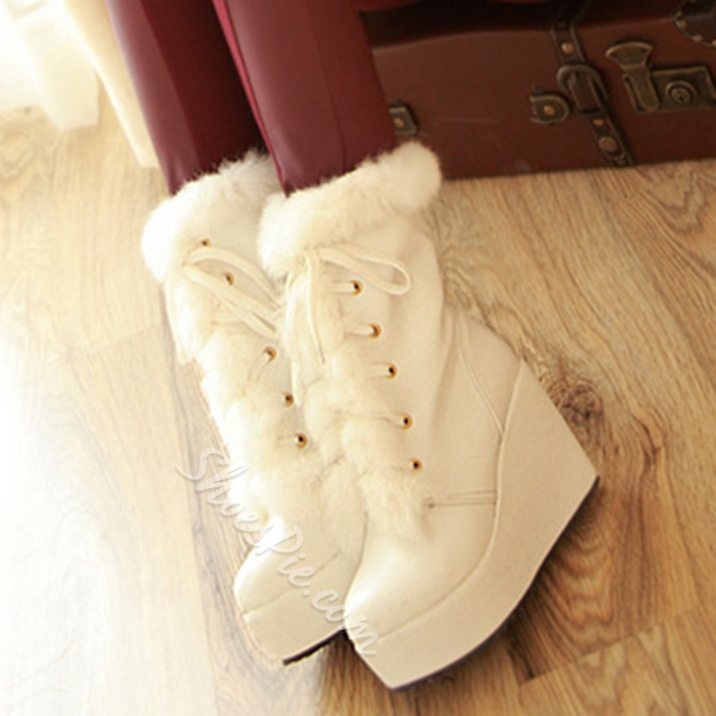 Shoespie Round Toe Furry Wedge Heel Fashion Boots