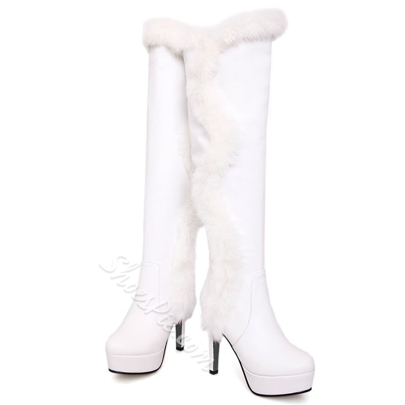 Shoespie Black & White Furry Stiletto Heel Knee High Boots