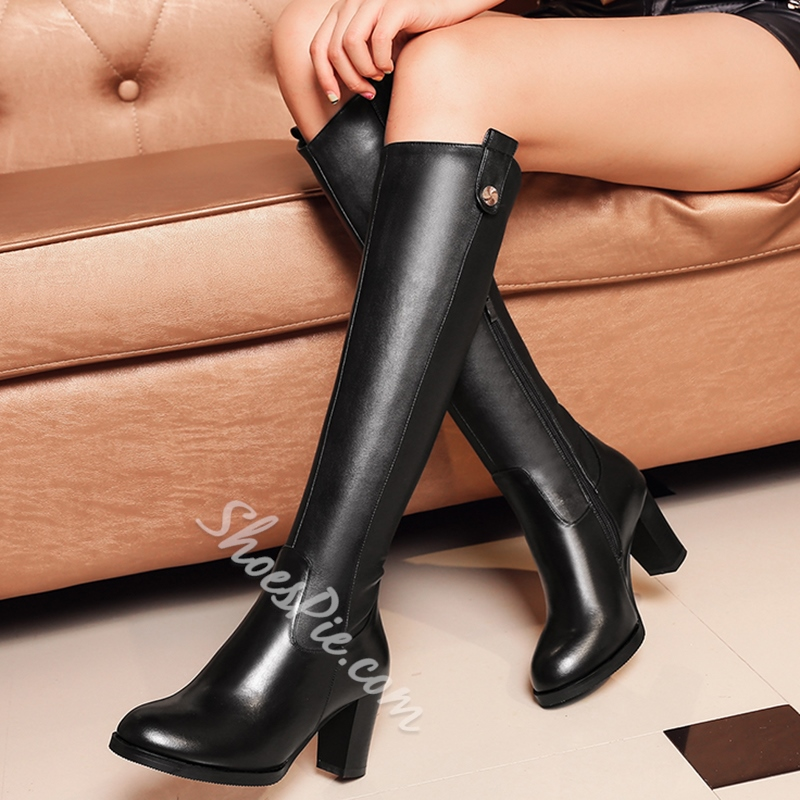 ad2b416c099 Shoespie Plain Black Metal Button Embellished Knee High Boots