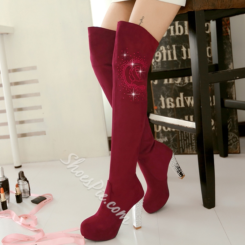 Shoespie Bling Chunky Heel Thigh High Boots