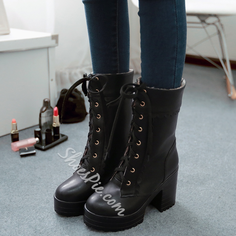 Shoespie Chic Patent Round Toe Platform Mid Claf Martin Boots