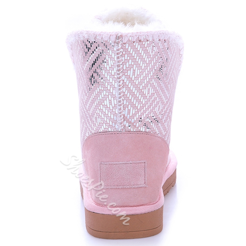 Shoespie Cute Round Toe Rhinestone Flat Snow Boots