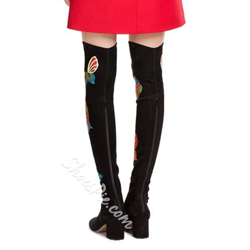 Shoespie Black Colorful Butterfly Print Block Heel Knee High Boots