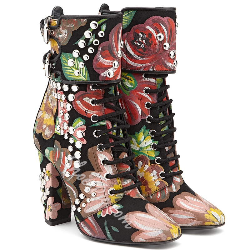 Shoespie Chic Floral Print Rivets & Buckle Ankle Boots