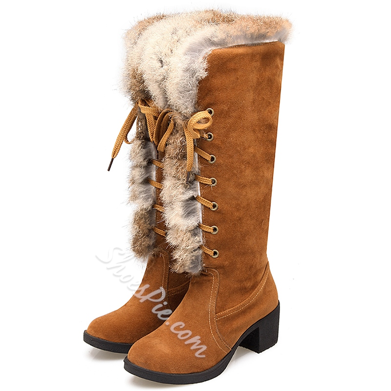 Shoespie Faux Furry Round Toe Block Heel Knee High Snow Boots