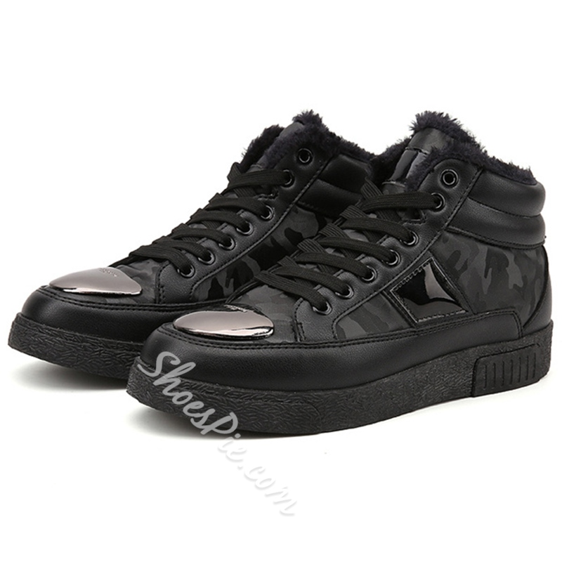 Shoespie Warm Black Floss Men's Shoes