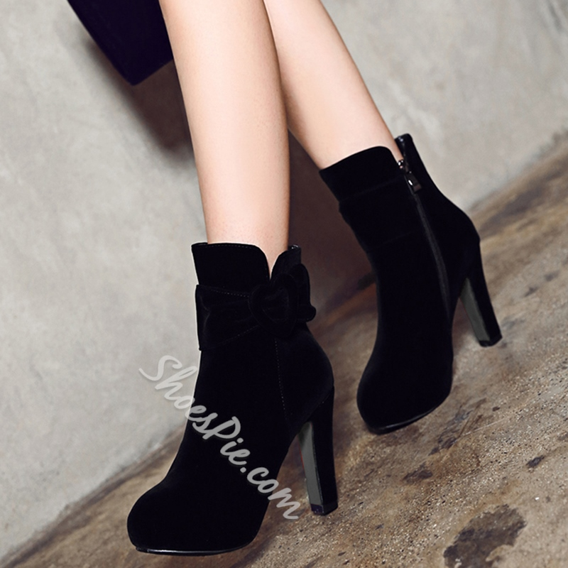 Shoespie Side Button Platform Ankle Boots