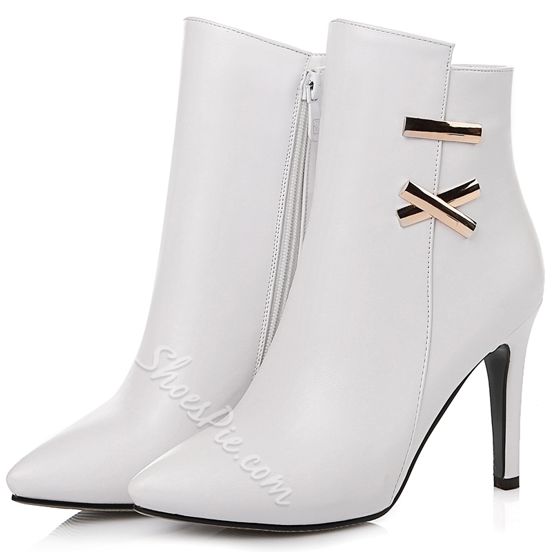 Shoespie Chic Side Metal Embellished Stiletto Heel Ankle Boots