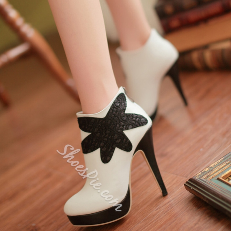 Shoespie Chic Floral Embellished Stiletto Heel Ankle Boots